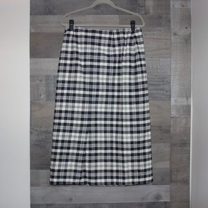 Talbots Black White Plaid Wrap Skirt Size 14